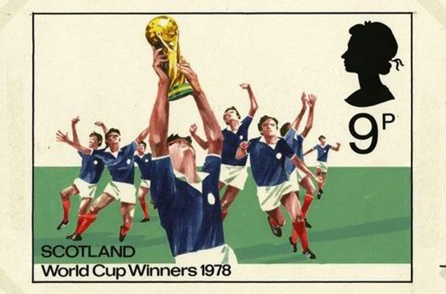 A STAMP depicting Scotland winning the World Cup in Argentina