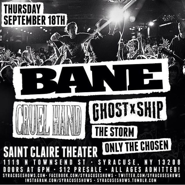 CRUEL HAND with BANE in September