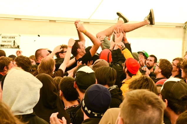 Clement crowdsurfing at Fluff Fest
