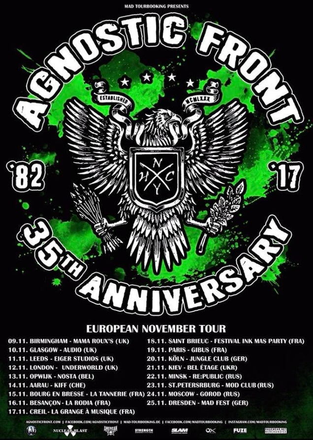 AGNOSTIC FRONT European tour dates