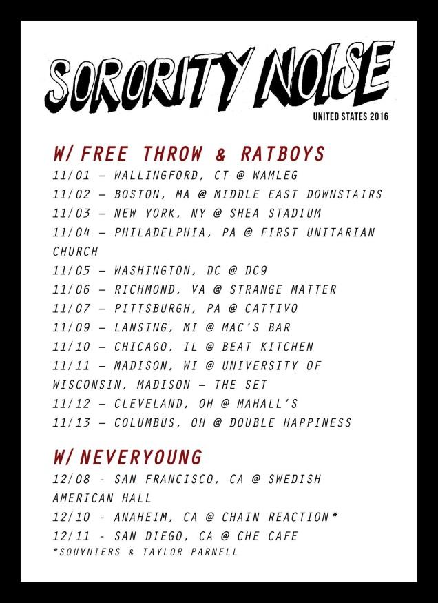 SORORITY NOISE tour