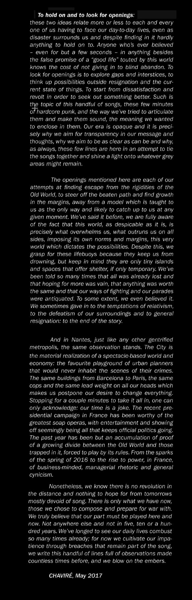 CHAVIRE statement